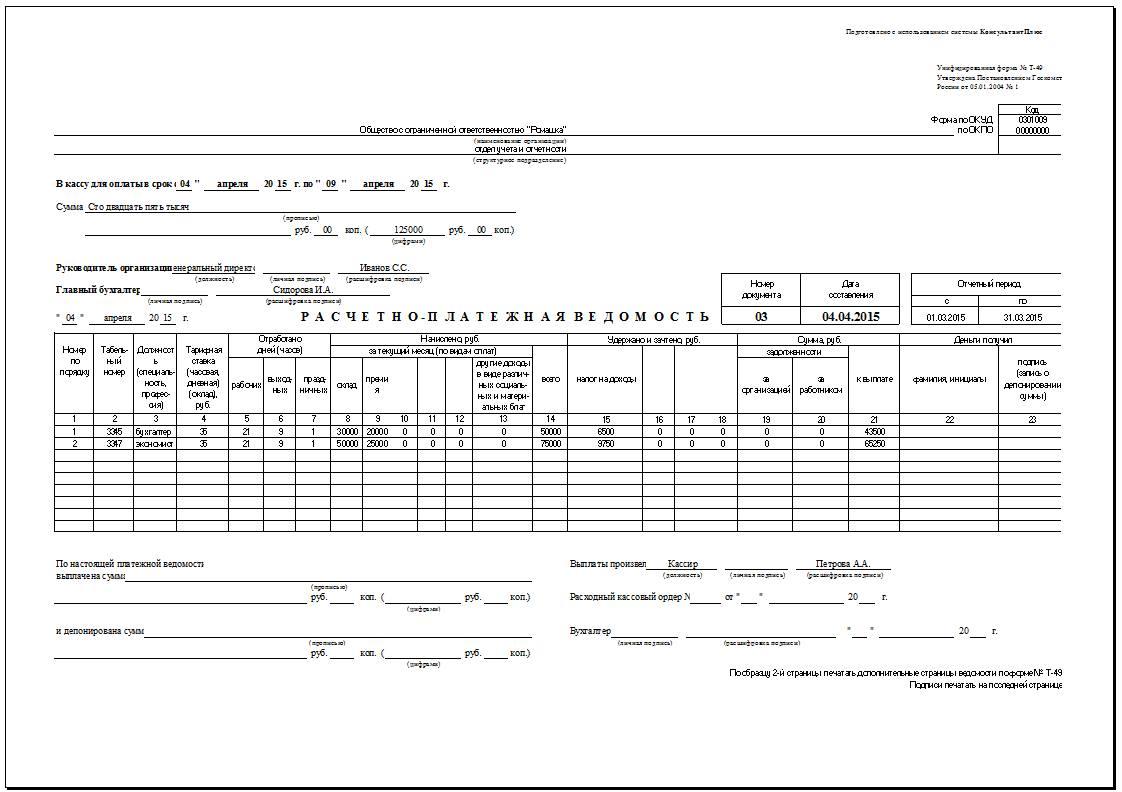 Расчетно-платежная ведомость образец заполнения архив документов.