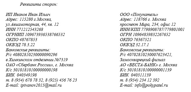 карточка с реквизитами ооо образец img-1