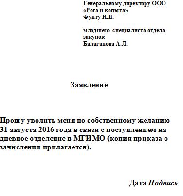 Образец заявления студента