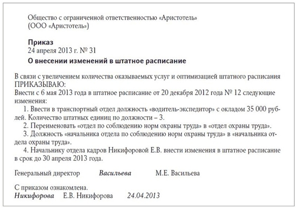Образец приказа о переименовании должностей
