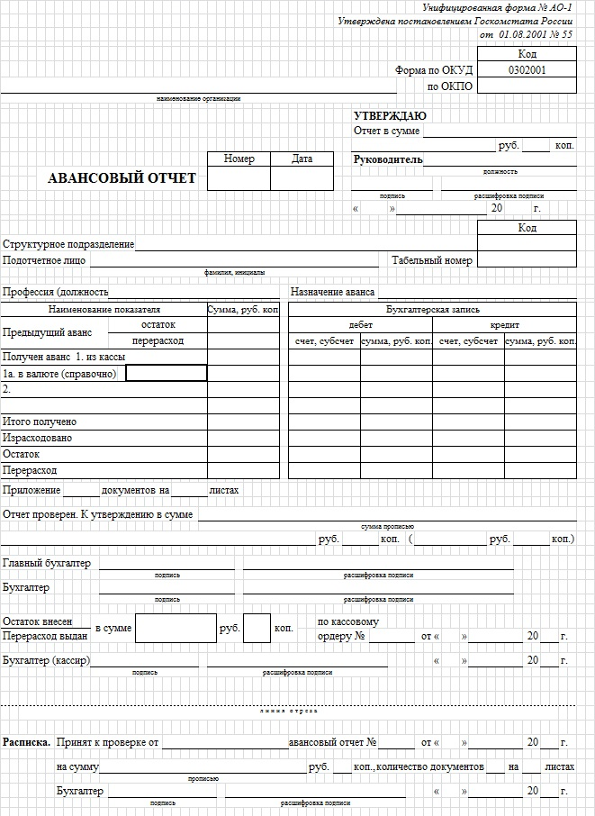 Авансовый отчёт: унифицированная форма АО-1