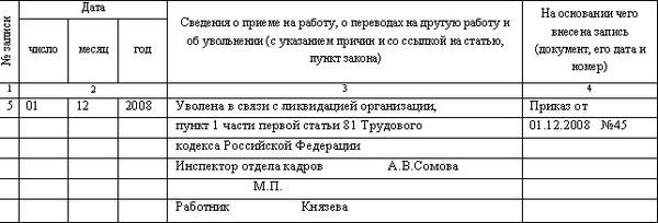 Образец записи в трудовой книжке