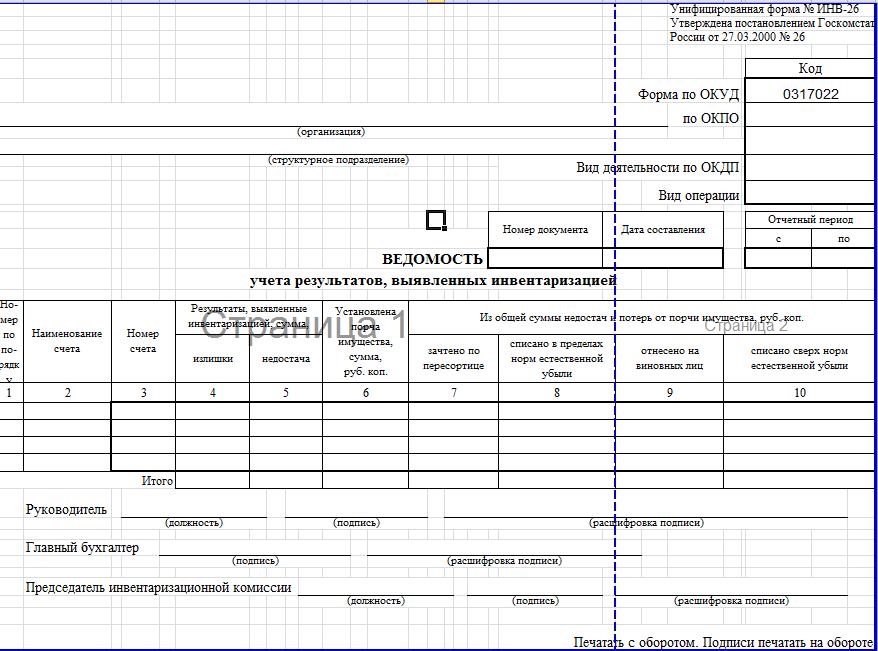 Образец ведомости ИНВ-26