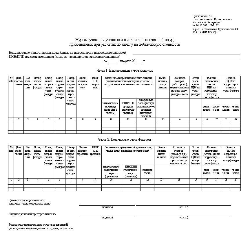 Фото № 7. Журнал учёта полученных и выставленных счетов-фактур, применяемых при расчётах по налогу на добавленную стоимость