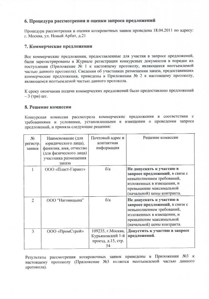 Образец решения конкурсной комиссии об оценке конкурсных предложений