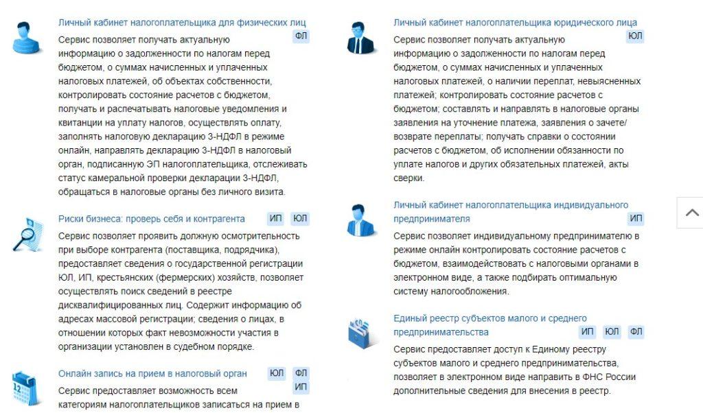 Перечень сервисов на сайте ФНС России, скрин