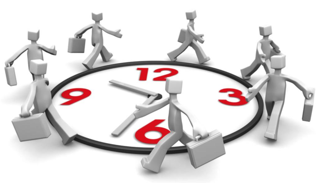 Человечки идут по циферблату часов