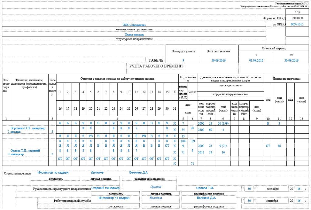 Табель учёта Т-12