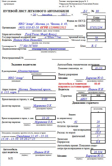 Образец заполнения путевого листа (лицевая сторона)