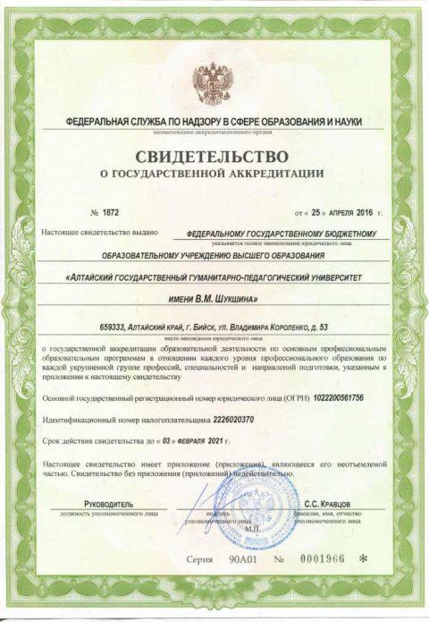 Свидетельство о государственной аккредитации вуза