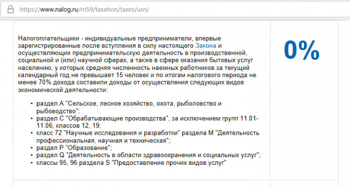 Скрин страницы портала ФНС РФ с описанием условий получения налоговых каникул для ИП на УСН