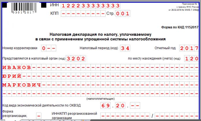 Титульный лист декларации по УСН (верхняя часть)