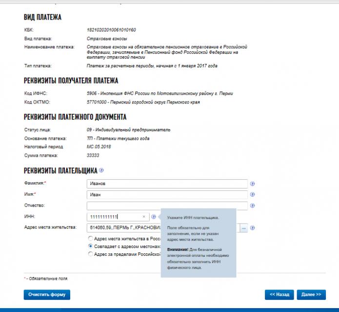 Внесение реквизитов плательщика на сайте ФНС