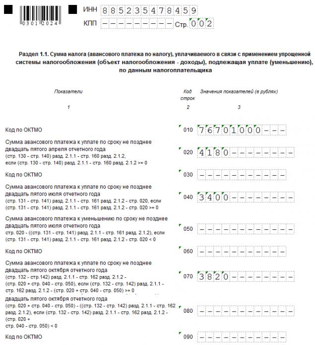 Раздел 1.1. декларации по УСН (образец)