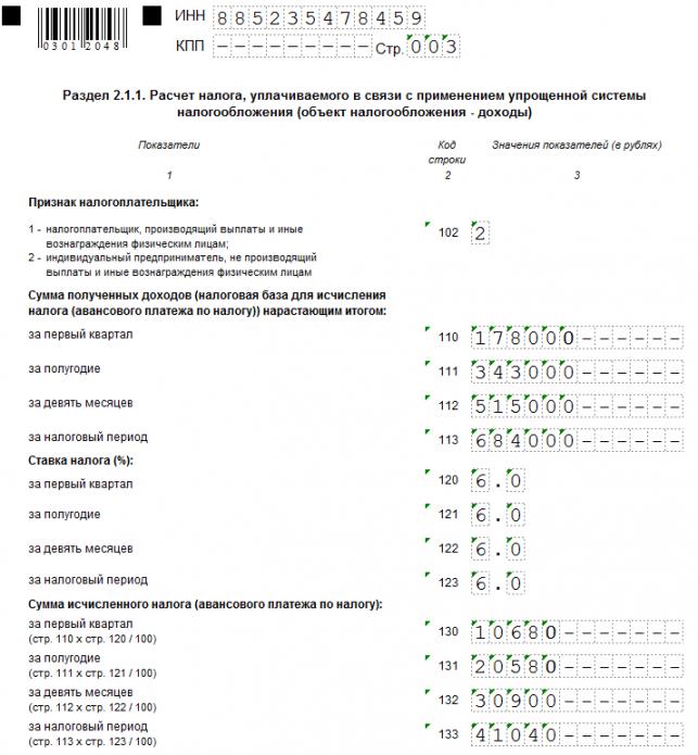 Раздел 2.1.1. декларации по УСН (образец заполнения верхней части)