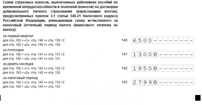Раздел 2.1.1. декларации по УСН (образец заполнения нижней части)
