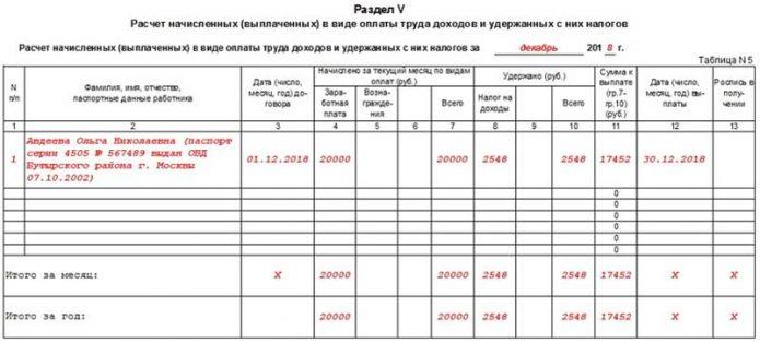 Раздел V. Расчёт начисленных в виде оплаты труда доходов и уплаченных с них налогов