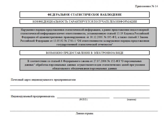 Форма 1-ИП, 1 стр., верхняя часть (Приложение №14)