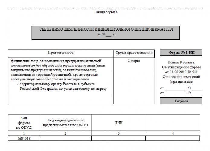 Форма 1-ИП, 1 стр., нижняя часть (Приложение №14)