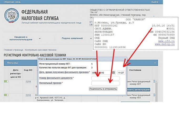Сайт ФНС: отчёт о регистрации ККТ