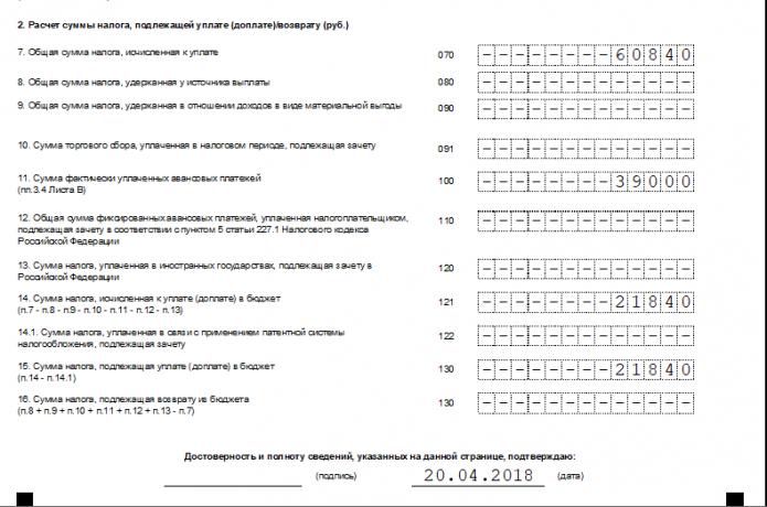 Раздел №2 расчёта 3-НДФЛ (образец нижней части)