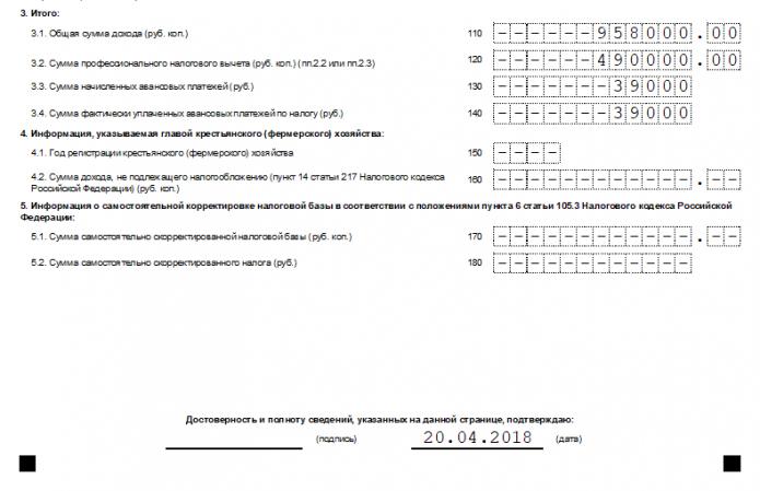 Лист В декларации 3-НДФЛ (образец нижней части)