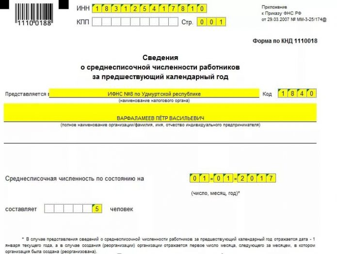 Справка «Сведения о среднесписочной численности работников» (образец, верхняя часть)