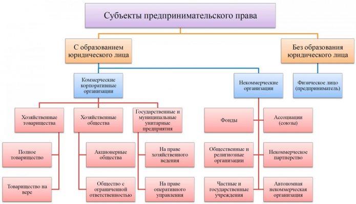 Виды субъектов предпринимательского права