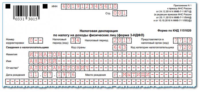 Заполненная форма 3-НДФЛ, титульный лист, верх