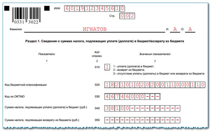 Заполненный Раздел 1 формы 3-НДФЛ