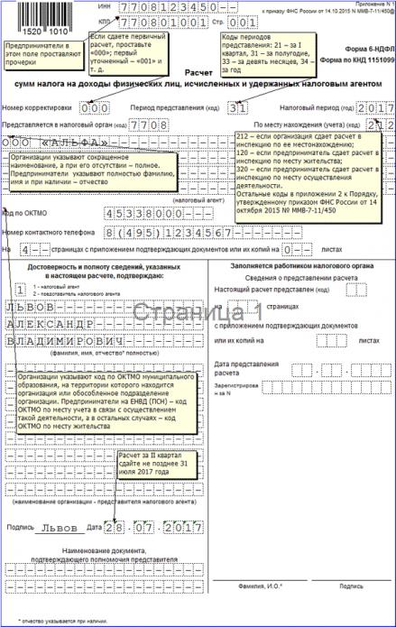 Титульный лист 6-НДФЛ (образец)