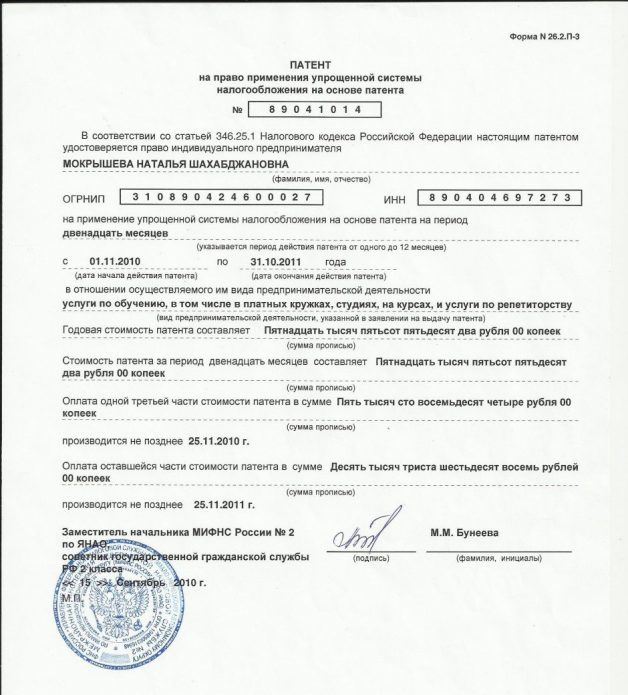Патент ИП (образец)