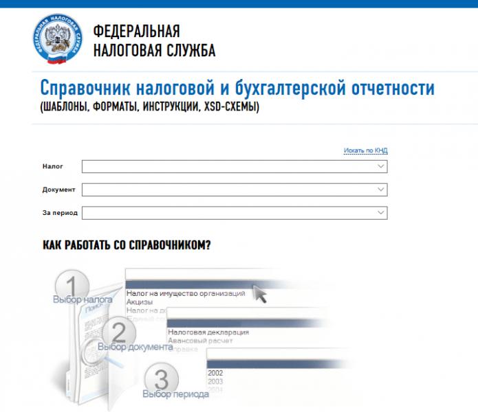 Скрин страницы сайта ФНС «Справочник отчётности»