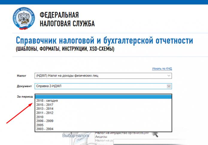 Скрин страницы сайта ФНС «Справочник отчётности» с выбором периода