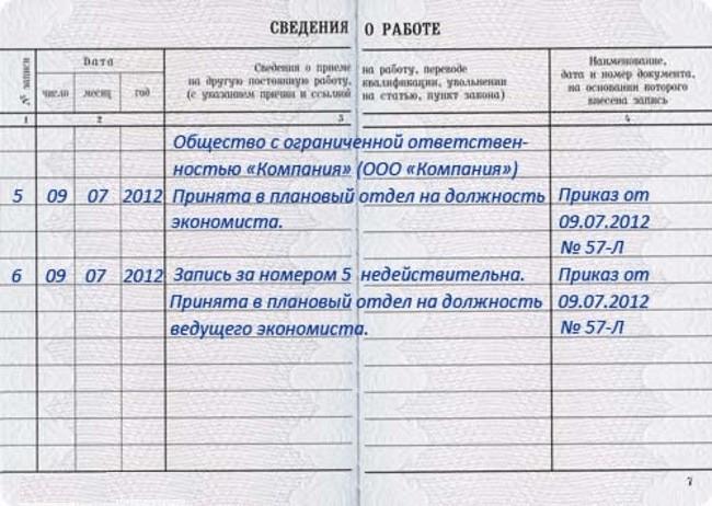 Разворот трудовой со сведениями о работе (ошибка в должности)