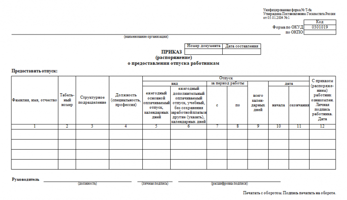 Форма Т-6а (шаблон)
