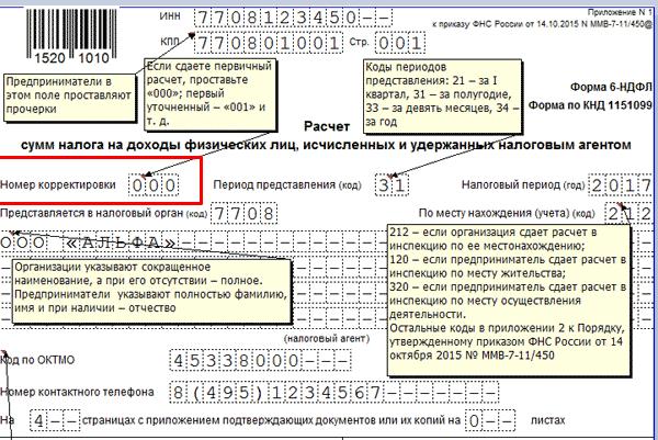 Шапка титульного листа расчёта 6-НДФЛ (номер корректировки)