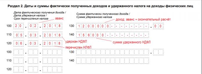 Пример заполнения раздела 2 при отражении дат аванса