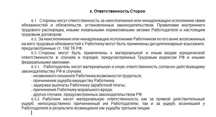 Трудовой договор, пункт 6 (образец)