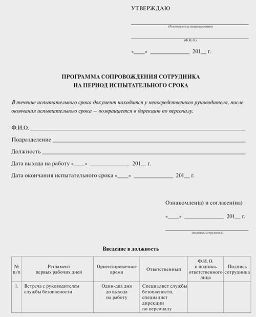 Программа сопровождения сотрудника на период ИС (форма)