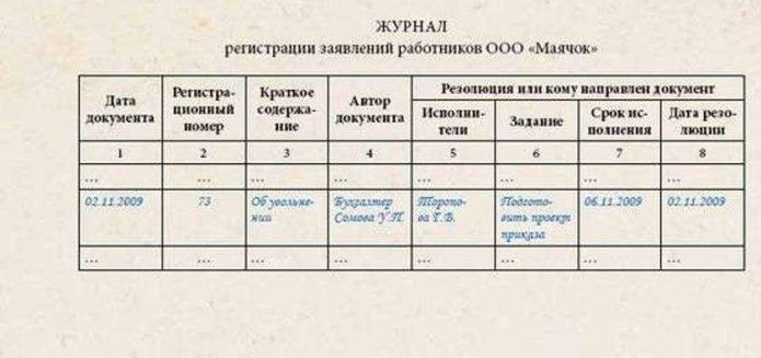 Пример регистрации заявления в журнале