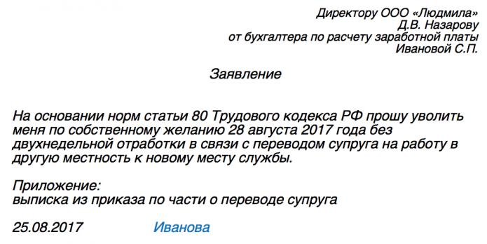 Заявление на увольнение по собственному желанию без отработки (образец)