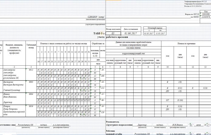 Табель учёта рабочего времени (пример)