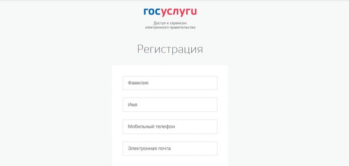 Госуслуги — форма для ввода регистрационных данных