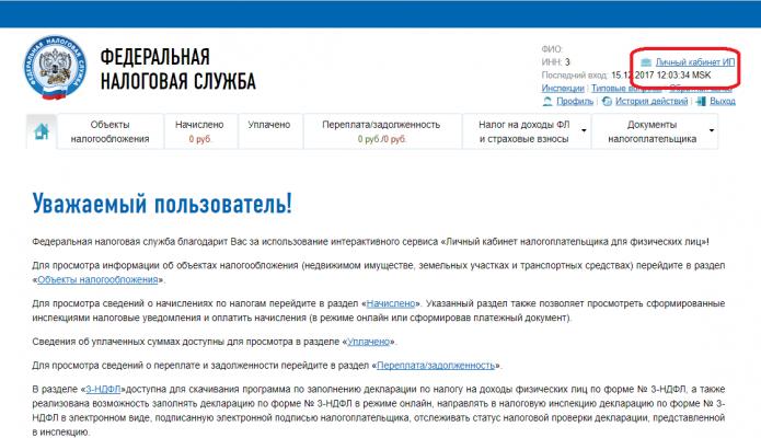 Переход в личный кабинет ИП на сайте ФНС