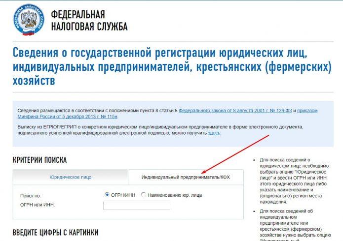 Оформление запроса на получение материалов из ЕГРИП через портал фискальной службы, шаг 2