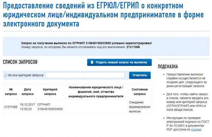 Порядок формирования онлайн-запроса на получение заверенной выписки из ЕГРИП через портал ФНС, шаг 4