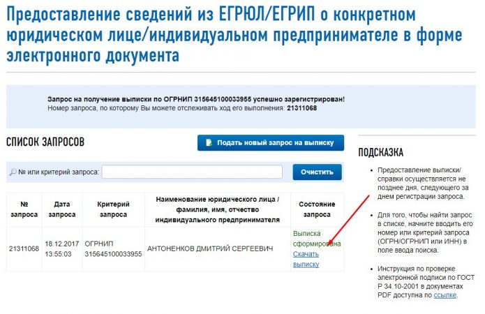 Порядок формирования онлайн-запроса на получение заверенной выписки из ЕГРИП через портал ФНС, шаг 5