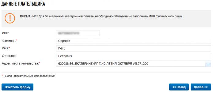 Скриншот страницы сайта ФНС для внесения личных данных
