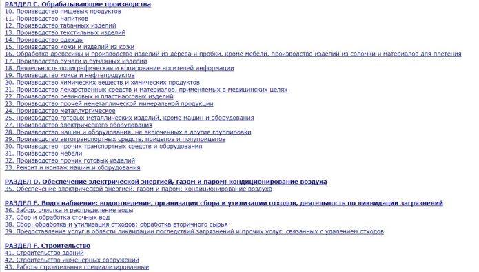 Скриншот страницы электронной версии ОКВЭД-2